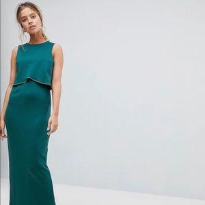 ASOS petite crop top maxi dress